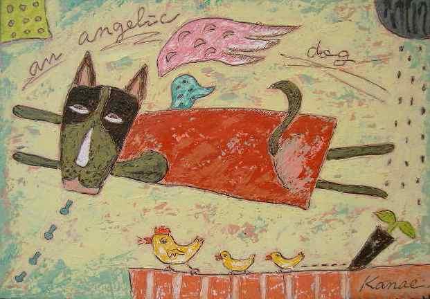 油絵絵画「犬」